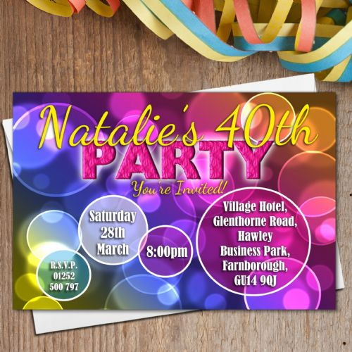 10 Personalised Bubbles Birthday Party Invitations N178